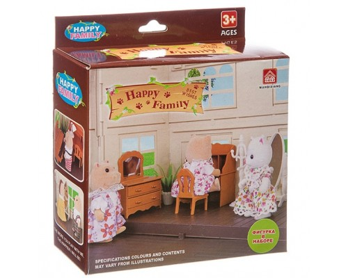 Набор Happy Family с фигуркой зверюшки, комната,12х11,5х4,5 см, BOX, 012-05B.